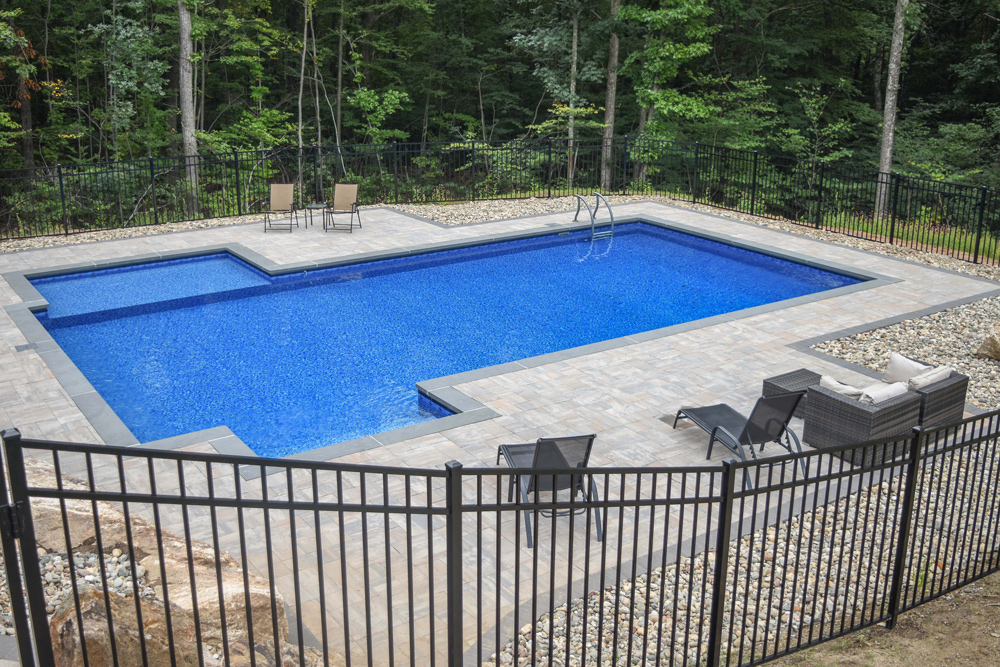 This is a photo of a custom rectangular in-ground swimming pool.