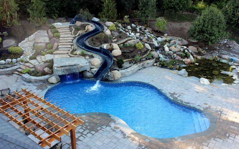 This Is A Picture Of A Custom Mountain Pond Inground Pool With Slide Installed By Julianos