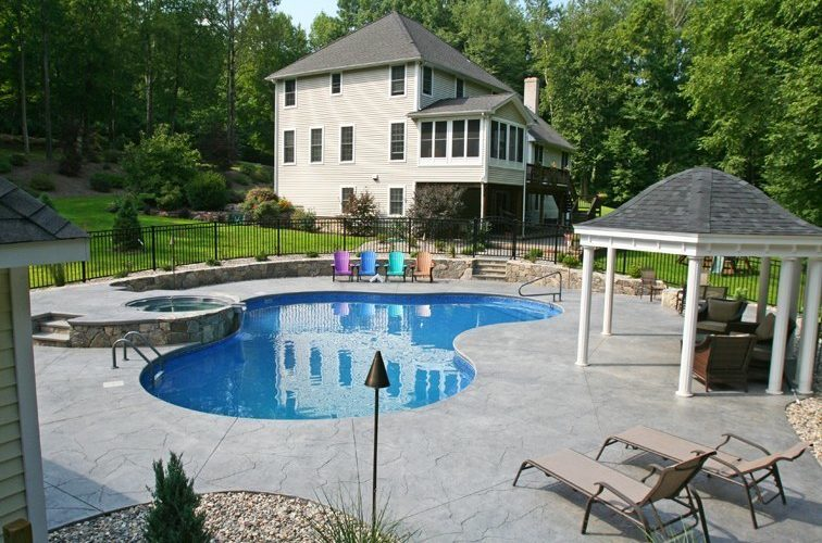 This Is A Picture Of A Custom Lagoon Inground Pool Installed By Julianos In East Granby, CT
