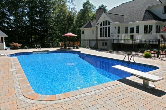 This Is A Photo Of A Custom Pool Installed By Julianos With Diving Board
