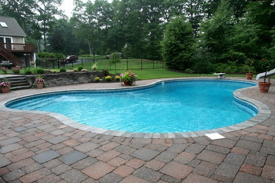 This Is A Picture Of A Custom Lagoon Inground Pool Installed By Julianos In Tolland, CT