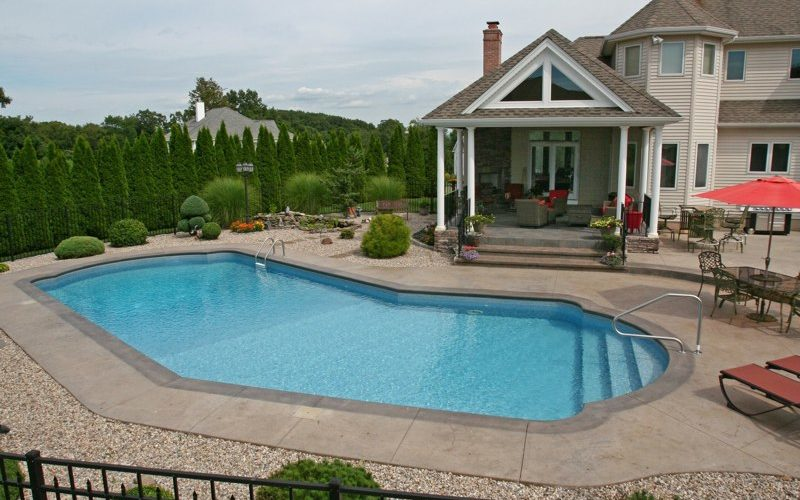 This Is A Photo Of A Lazy L Style Custom Inground Swimming Pool