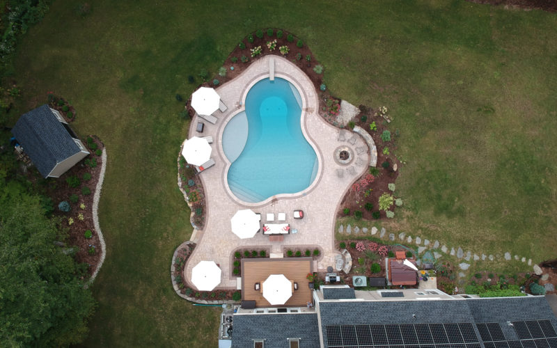 This Is A Birds Eye View Photo Of A Custom Inground Pool Installed By Julianos