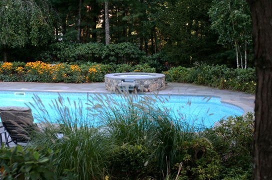 This Is A Photo Of A Roman In Ground Pool In Farmington, CT With Custom Pavers, Spil Over Hot Tub And Basketball Hoop