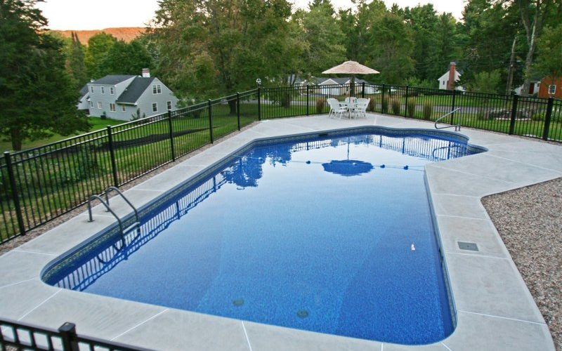 This Is A Photo Of A Lazy L Style Custom Inground Swimming Pool.