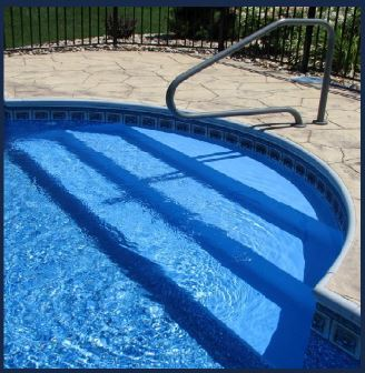 this is a photo of inground pool stairs