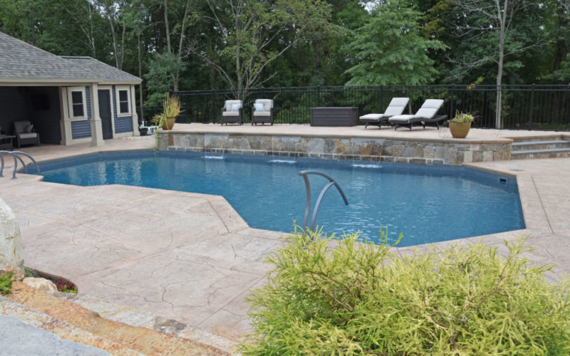 Waterfall Custom Inground Pool - Suffield, CT