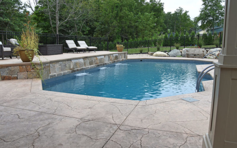 Water Feature Custom Inground Pool - Suffield, CT