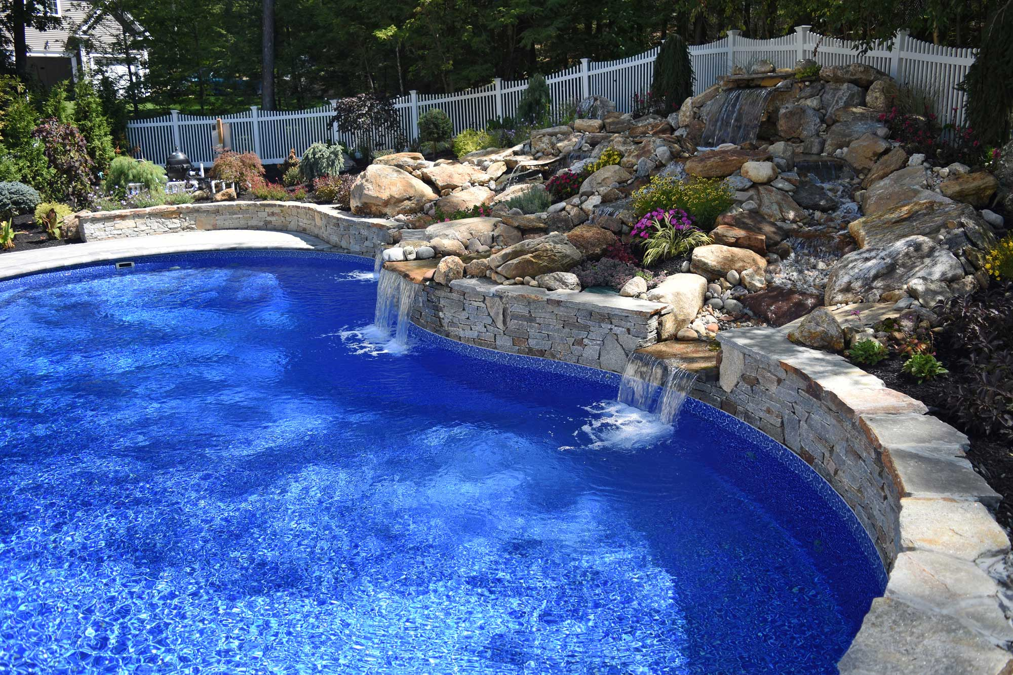 water fall custom pool - Vernon, CT